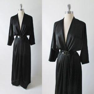 Vintage 80's Black Low Cut Evening Dress Gown